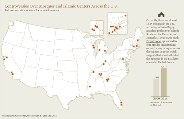 Interactive Map of Mosque Controversies